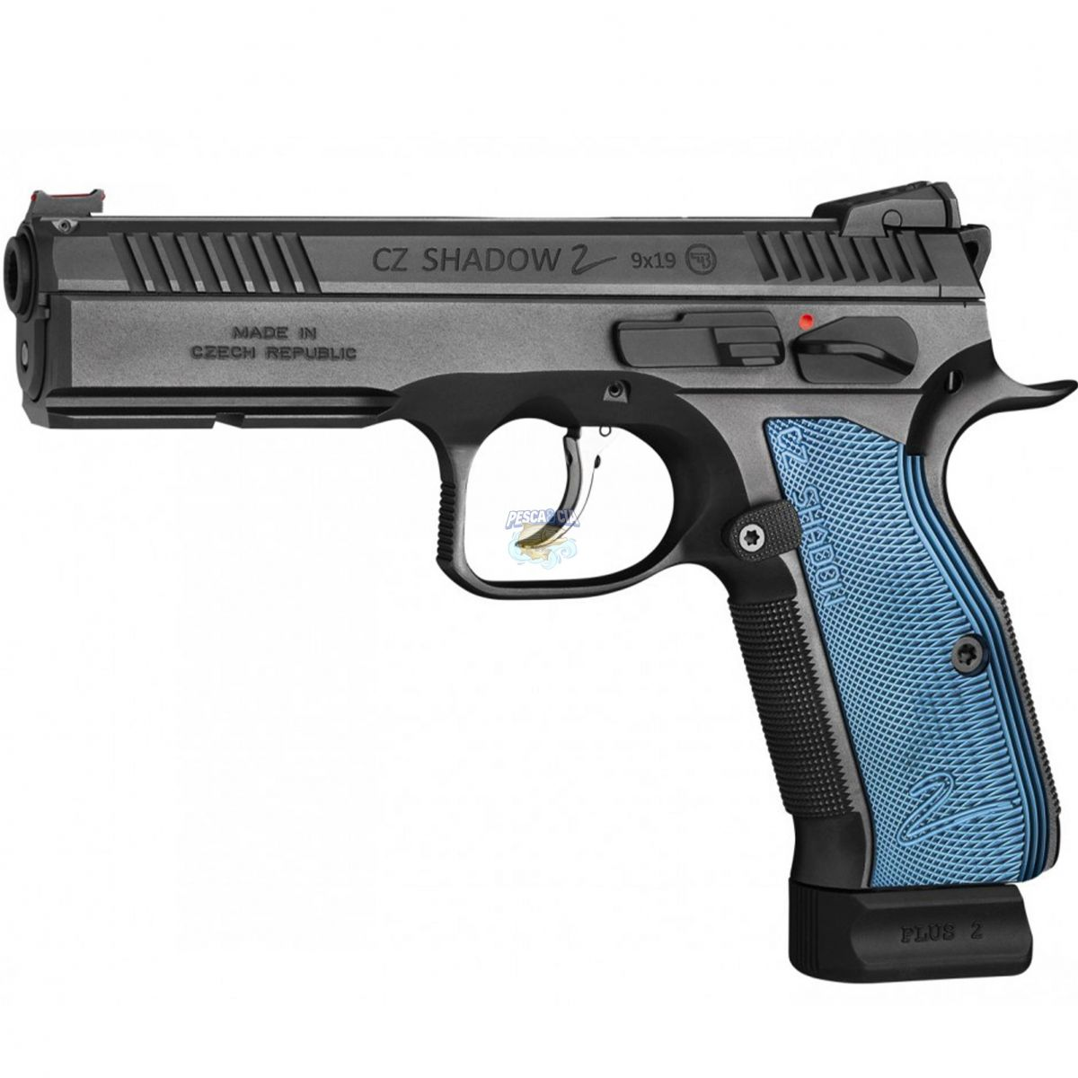 "Pistola Ceska Zbrojovka CZ Shadow 2 Cal.9mm Oxidada (TALA AZUL) 19 Tiros- Cano 4.7"""