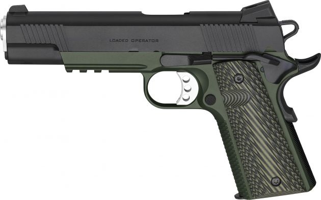 "Pistola Springfield 1911-A1 Loaded MC Operator G10 Cal. 45ACP OD Green/Black 7 Tiros - Cano 5"""